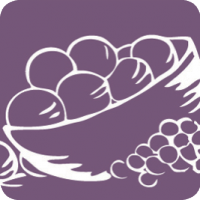 Drawing of plums in a bowl with grapes on the side in white outlines on a purple background